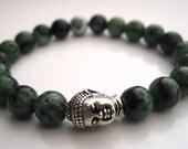 Wrist Mala, Ruby Zoisite Beads - Fertility Bracelet, Spiritual Jewelry, Buddha Bead