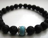 Mens bracelet, Lava Stone & Turquoise Howlite - Stacking Bracelets, Wrist Mala, Yoga Bracelet