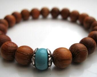 Bracelet, wrist mala - turquoise Howlite focal bead, yoga beads, wooden beads