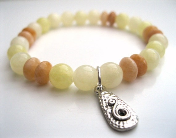 Honey Jade & Spiral Bracelet