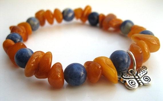 Healing bracelet, Sodalite, Amber & Butterfly - Wrist Mala, Yoga bracelet