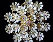 Vintage White rhinestone flower Coro Pin