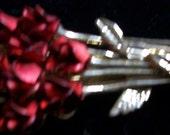 Vintage W Red Rose Brooch