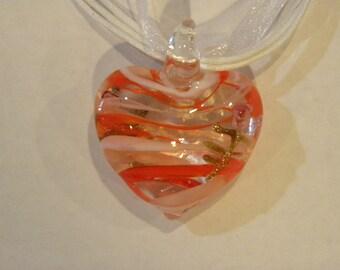 Big heart glass pendant