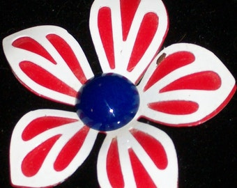 Vintage Red white and Blue flower