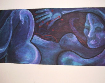 Sale * NUIT NUDE ORIGINAL painting Woman in BLue NuDE original painting signed Acrylic on Canvas Painting not print