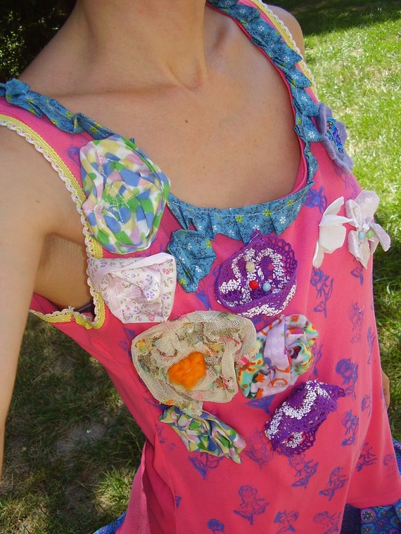 DITSY GALORE TUNIC Sale w tons  of details and beads embellishments Galore for the young or young at heart tunic or mini dress Xs to large