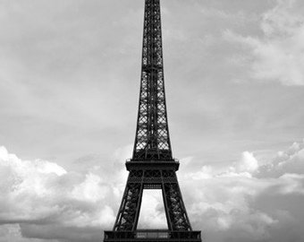 Eiffel Tower, Paris Wall Art, Vintage Travel Photography, 5x7 Print, Chic Home Decor, Classic Black and White, Observation Tower