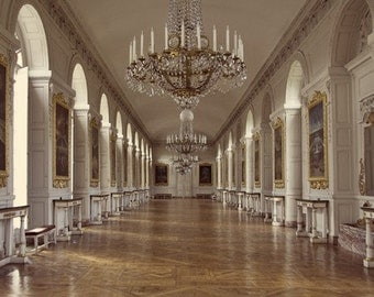 Travel Photography - Versaille Grand Trianon - French Baroque - French Decor - Chandelier - Marie Anoinette - Elegant
