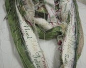 XMAS scarf for the holidays - waywards threads silk ribbons and muslin print fabric strips