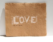 Typography Art love print - LOVE in White Linoprint  8x10 on Brown Recycled Cerealbox Paper