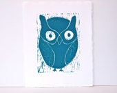 Spring OWL Linocut PRINT - Teal Blue Owl 8x10