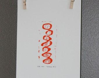 Modern Home Art PRINT - Bright Orange Circles with Lines Linocut 9x12