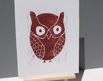 Owl Linocut PRINT Dark Brown Owl 8x10