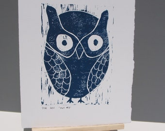 Owl Decor Art Linocut Print Deep Blue 8x10