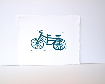 Bike Art in teal Linocut Poster Tandum Bike 8x10