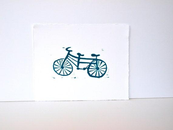 Bike Art in teal Linocut Poster Tandum Bike 8x10