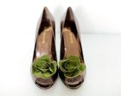 Moss Green Bloom- Shoe Clips