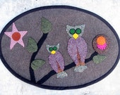 Owls In The Treetops Wool Table Runner in the Penny Rug Style