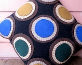 Wool On Wool Throw Pillow in Black and Earth Tones Penny Rug Variation