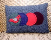 RESERVED Wool On Wool Colorful Throw Pillow With Red Bird and Penny Rug Variation