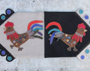 Whimsical Roosters With Vintage Buttons-Wool Penny Rug Table Runner