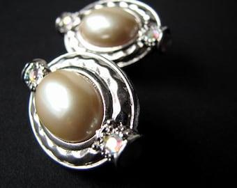 Vintage Earrings Oval Silver Pearl AB Rhinestones