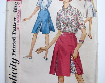 1960s Pattern Skirted Shorts Skorts and Shirt Simplicity 5284 Juniors 9