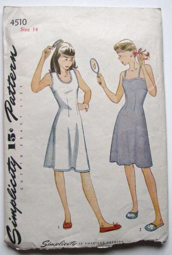 Vintage 40s Girls Teen Age Slip Pattern, Teen size 14 Lingerie Full Slip Pattern Simplicity 4510 COMPLETE