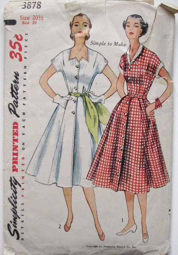 Vintage 50s Dress Pattern, Hollywood Glamour Cocktail Dress, Half Size Simplicity 3878, UNCUT and FF Factory Folded Bust 39