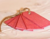 wood gift tags, CRANBERRYx6, wood hang tags for gift packaging, stained wood tags