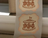 vintage scrolled labels MerRy Go RoUnD in chocaolate x12, antique style labels, kids party seal, stickers