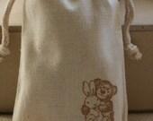 muslin gift favor bag bEaR n BuNnY LaRge x10, muslin wedding favor bags, gift bags for wedding, baby shower, Easter goody bags