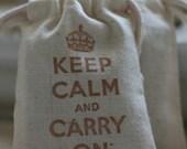 muslin gift bags KeEp CaLm x20, wedding muslin favor bag, baby shower favor, goody bag for baked goods,soaps,candies