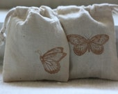 muslin gift bag TwO BuTteRfLieS x 10, wedding muslin gift bag, baby shower favor, goody bag for soaps, candles, candies, baked goods