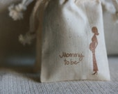 muslin gift favor bags MomMy To Be x10, muslin baby shower gift bags, goody bags
