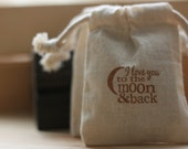 cotton muslin favor gift bag, MoOn N BaCk x10, muslin wedding favor bags, favor bags for baby shower, soaps, candies