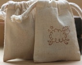 cotton muslin favor gift bag, FLuFfY LaMb x30 muslin wedding favor bags, favor bags for baby shower, soaps, candies