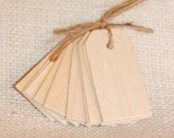 wood gift tags NATURALx10, small wooden gift tags for baby shower, wedding gifts, gift wrap, scrapbooking