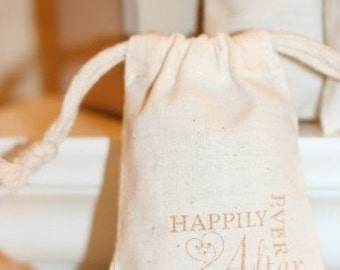 muslin gift favor bags HAPPILY EVER AFTERx10, wedding muslin favor bags, engagement favors