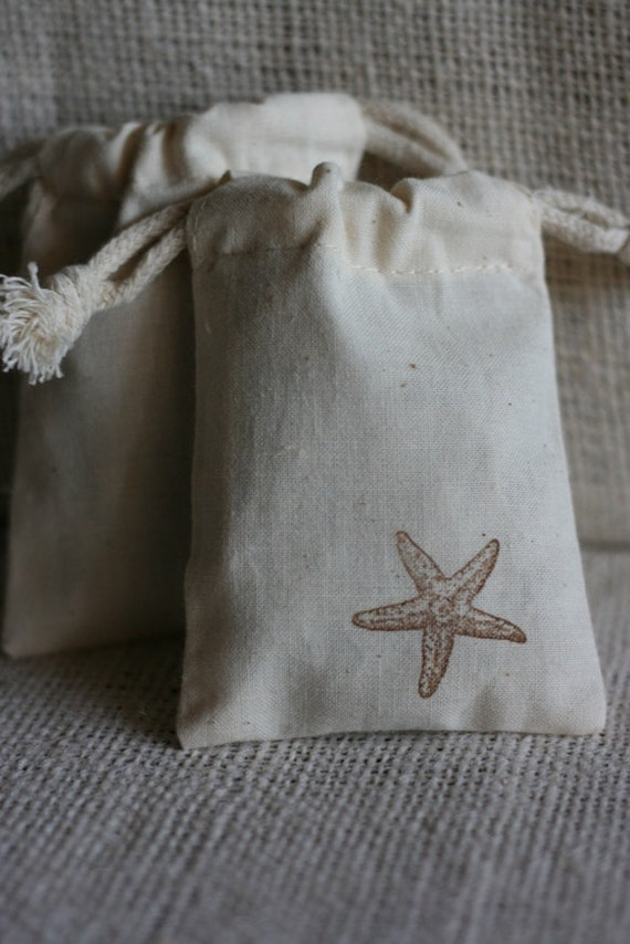 muslin gift bags StAr FiSh x10, wedding muslin favor bag, baby shower ...