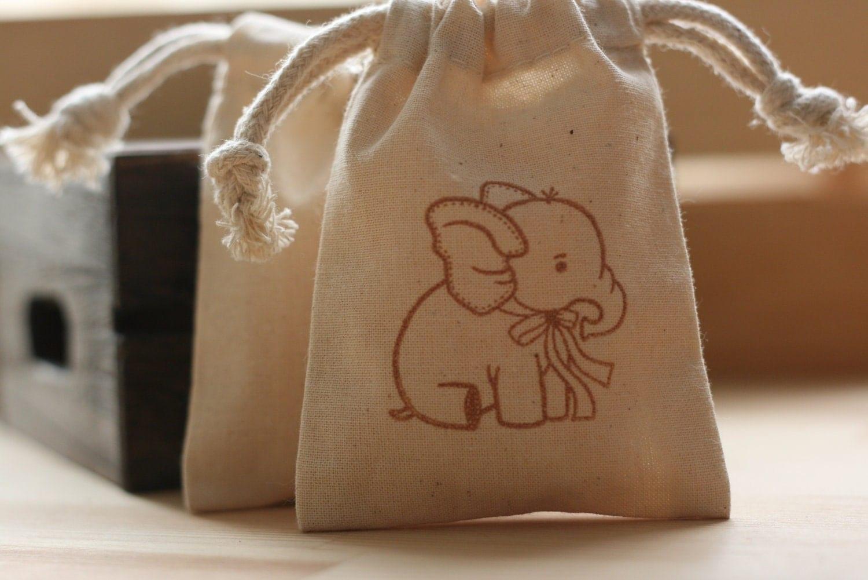 Gift Bag: Muslin Favor Bags BaBy ELePhAnT X10 Muslin Baby By