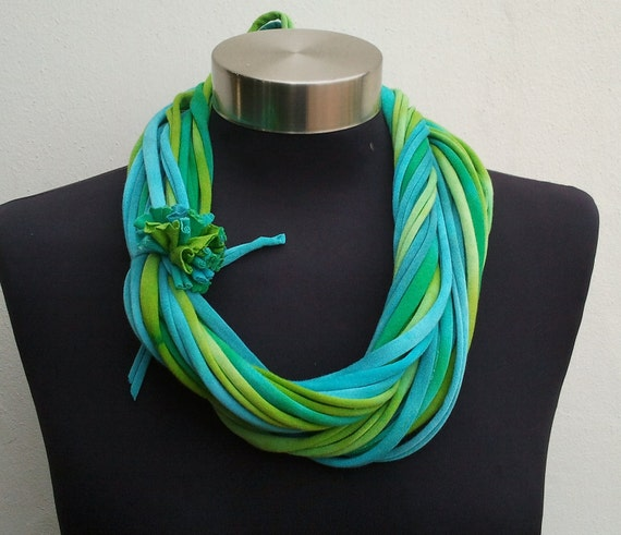 spring summer  ocean colored recycle scarf,necklace-scarf-Womens scarves - loop  scarf-Infinity scarf-fashion fabric-t shirt scarf