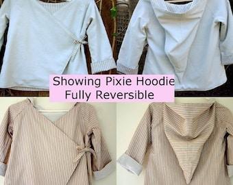 Childrens Hoodie Jacket Instant Download PDF Sewing Pattern tutorial ebook kimono reversible coat