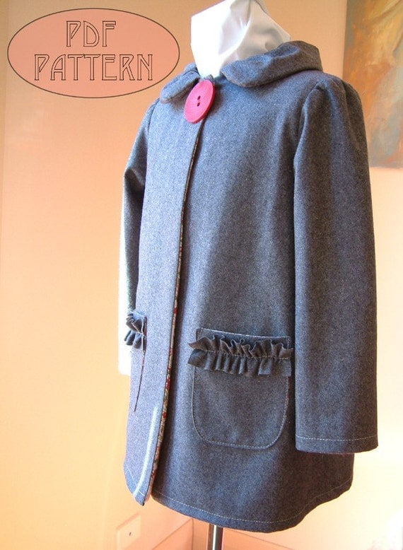 Girls PDF PATTERN bow button coat jacket ruffle collar pockets sewing tutorial email 3 to 8 years