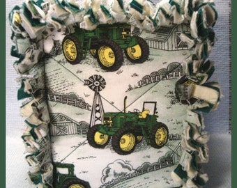 Rag Quilt Boutique Tissue Box Cover Handmade with John Deere Green Barns Fabric