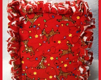 Rag Quilt Boutique Tissue Box Cover Handmade with Rudolph the Red-Nose Reindeer Fabric