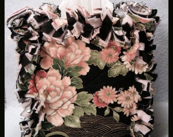 Rag Quilt Boutique Tissue Box Cover Handmade with Flower Garden on Black Fabric