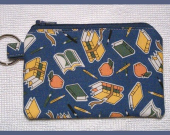 Coin Purse Keychain with Zipper Closure Handmade with School Days Fabric