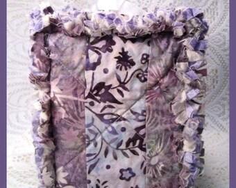 Rag Quilt Boutique Tissue Box Cover Handmade with Purple Batik Fabrics
